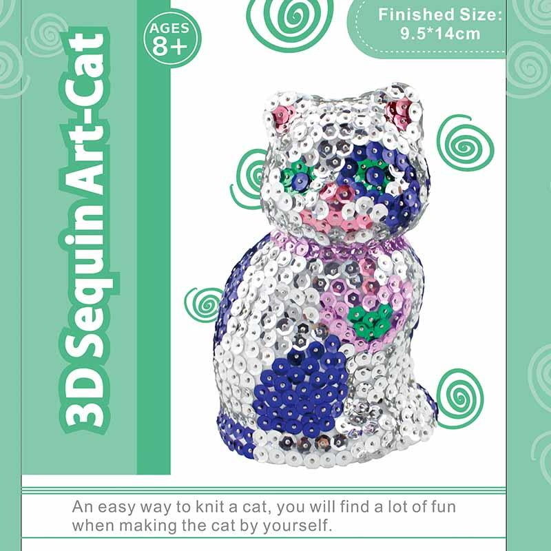 Sequin Art 3D Animal Cat Model Crafts Kits