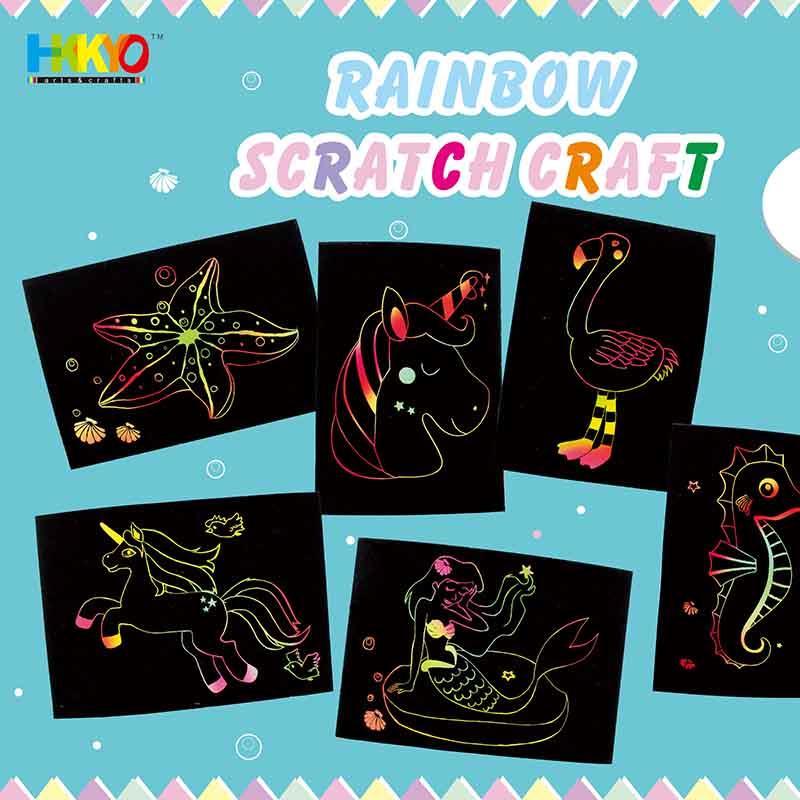 Rainbow Scratch Art Mermaid Unicorn Flamingo Craft Kit